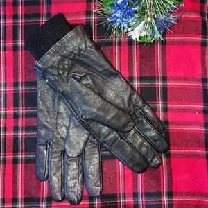 Black Faux-Leather Gloves